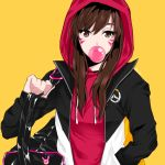 1girl bag bangs bitto34 brown_eyes brown_hair bubble_blowing bubblegum charm_(object) d.va_(overwatch) drawstring duffel_bag facepaint facial_mark gum hood hood_up hoodie jacket long_hair long_sleeves open_clothes open_jacket overwatch shoulder_bag simple_background solo upper_body whisker_markings yellow_background