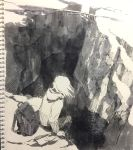 1girl absurdres backpack bag bridge canyon cliff dutch_angle from_behind greyscale highres hood hoodie long_hair millipen_(medium) monochrome nib_pen_(medium) notebook original photo river scenery sitting sketch solo tokunaga_akimasa traditional_media water wind