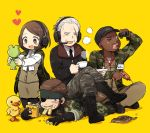 1girl 3boys 50yen arm_up bandanna bangs baseball_cap big_boss binoculars bird black_boots black_eyes black_gloves black_hat black_legwear black_necktie black_shoes blue_eyes blush boots brown_eyes brown_hair brown_pants brown_skirt buttons camouflage camouflage_pants closed_eyes collared_shirt cross-laced_footwear cup dark_skin drill duck eating eyepatch facial_hair food food_in_mouth food_on_face frog full_body gloves hat headband headset heart heart-shaped_pupils holding holding_cup holding_food indian_style jacket kneeling lace-up_boots legs_crossed long_sleeves lying major_zero metal_gear_(series) metal_gear_solid metal_gear_solid_3 motion_lines mouth_hold multiple_boys mustache necktie on_back one_eye_closed open_mouth pants para-medic_(mgs3) partly_fingerless_gloves saucer scar scar_across_eye shadow shirt shoes short_hair sigint simple_background sitting sitting_on_person skirt sleeveless sleeves_rolled_up smile smoke standing swept_bangs symbol-shaped_pupils tea teacup uniform very_dark_skin white_hair white_shirt yellow_background zipper