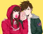 2girls bangs bitto34 brown_eyes brown_hair bubble_blowing bubblegum cellphone cellphone_camera character_name closed_mouth clothes_writing collarbone d.va_(overwatch) drawstring ear_piercing facepaint facial_mark fingernails gum hand_on_another's_shoulder hand_up hood hood_down hood_up hoodie jacket jewelry long_hair long_sleeves multiple_girls open_clothes open_jacket overwatch phone piercing reverse_trap ring self_shot shirt short_hair simple_background smartphone smile spiky_hair taking_picture tracer_(overwatch) undershirt union_jack upper_body wedding_band wedding_ring whisker_markings white_shirt yellow_background yellow_eyes