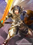 1boy armor armored_boots blue_eyes blue_hair boots cape company_connection energy falchion_(fire_emblem) fighting_stance fire_emblem fire_emblem:_kakusei fire_emblem_cipher glowing glowing_sword glowing_weapon holding holding_shield holding_sword holding_weapon krom light_particles male_focus matching_hair/eyes official_art open_mouth pants purple_background serious shield short_hair solo sword teeth weapon white_armor white_cape