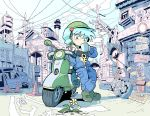 1girl arm_support blue_eyes blue_hair blue_jacket blue_pants boots cup daisy drinking eyebrows_visible_through_hair flower green_boots ground_vehicle hair_bobbles hair_ornament hat helmet highres jacket kawashiro_nitori key key_necklace legs_crossed long_sleeves matching_hair/eyes motor_vehicle moyazou_(kitaguni_moyashi_seizoujo) mug open_clothes open_jacket outdoors pants partially_colored petals phone plant pocket power_lines road_sign scooter sign sky smokestack solo strapless tied_hair touhou traffic_cone traffic_mirror tubetop twintails unzipped wheel white_flower zipper zipper_pull_tab