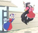 >_< 2girls absurdly_long_hair bamboo_print bangs black_hair blue_dress braid branch breasts brown_shoes closed_eyes cloud_print commentary_request cross_print dress fence ground hair_tie hands_up hat hime_cut houraisan_kaguya jeweled_branch_of_hourai long_hair long_skirt maroon_skirt medium_breasts moon_print multicolored_dress multiple_girls no_shoes nurse_cap open_mouth outdoors parody pink_shirt red_dress red_eyes round_teeth shiny shiny_hair shirosato shirt shoes sidelocks silhouette silver_hair single_braid skirt surprised teeth tongue touhou tree very_long_hair white_legwear yagokoro_eirin