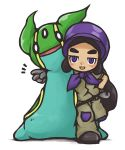 1girl aozakana_zabaano belt black_boots black_hair blush bonnet boots bright_pupils chibi dark_skin gastrodon gloves haapuu_(pokemon) half-closed_eyes island_kahuna jumpsuit long_hair open_mouth pokemon pokemon_(game) pokemon_sm puffy_short_sleeves puffy_sleeves short_sleeves slug solo v violet_eyes