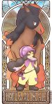 1girl ;) belt black_boots bonnet boots bright_pupils character_name dark_skin gloves haapuu_(pokemon) jumpsuit long_hair mudsdale one_eye_closed pokemon pokemon_(creature) pokemon_(game) pokemon_sm purple_gloves quas-quas smile solo standing thick_eyebrows twintails twitter_username violet_eyes