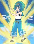 1girl :o baggy_pants bare_arms black_pants blue_eyes blue_hair blue_swimsuit bright_pupils capri_pants chiimako crop_top full_body hairband matching_hair/eyes one-piece_swimsuit open_mouth pants pokemon pokemon_(game) pokemon_sm sailor_collar sandals shirt short_hair sleeveless sleeveless_shirt solo standing suiren_(pokemon) swimsuit swimsuit_under_clothes trial_captain z-move