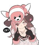 1girl :> brown_hair doll_on_head female finger_to_cheek flat_color gloves heterochromia highres jewelry necklace neo_(rwby) pink_hair pokemon pokemon_(creature) pokemon_(game) pokemon_sm rwby simple_background smile solo stufful translation_request upper_body white_background