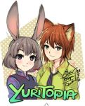 2girls animal_ears bob_cut disney female fox_ears genderswap genderswap_(mtf) go-it green_eyes judy_hopps looking_at_viewer multiple_girls nick_wilde orange_hair personification police police_uniform policewoman rabbit_ears short_hair signature silver_hair title_parody uniform violet_eyes zootopia