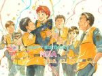 2girls 5boys arm_hair birthday black_hair blue_eyes brown_eyes brown_hair character_name confetti dated eye_contact gaiters glasses gotou_kiichi hands_in_pockets hands_together happy happy_birthday heart hug izumi_noa jumping kidou_keisatsu_patlabor kumagami_takeo looking_at_another mikiya_shinji multiple_boys multiple_girls necktie oota_isao party_popper police police_uniform redhead shinohara_asuma shinshi_mikiyasu short_hair simple_background sleeves_rolled_up smile star streamers traditional_media uniform uniform_vest ususionorisio vest watercolor_(medium) white_background yamazaki_hiromi