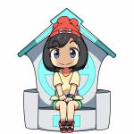 1girl beanie black_eyes black_hair female_protagonist_(pokemon_sm) hat kanikama lowres pokemon pokemon_(game) pokemon_sm red_hat shirt short_hair sitting solo tied_shirt z-ring