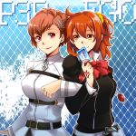 2girls ahoge ayatsuji_reina_(chiao) belt blue_background bow bowtie breasts brown_eyes brown_hair card closed_mouth collared_shirt command_spell copyright_name cosplay costume_switch crossover evoker eyebrows_visible_through_hair fate/grand_order fate_(series) female_protagonist_(persona_3) fujimaru_ritsuka_(female) hair_between_eyes hair_ornament hair_scrunchie hairclip head_tilt highres holding holster locked_arms long_sleeves looking_at_viewer medium_breasts multiple_girls number orange_hair persona persona_3 persona_3_portable playing_card red_bow red_bowtie red_eyes school_uniform scrunchie shirt side_ponytail smile white_shirt wing_collar x_hair_ornament