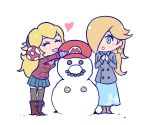 2girls akairiot blonde_hair blue_eyes blush chibi closed_eyes female flat_color full_body hair_over_one_eye hat mario mario_(series) multiple_girls outdoors princess_peach rosetta_(mario) snowman super_mario super_mario_galaxy super_smash_bros. thigh-highs white_background