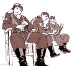 3boys artist_name boots chair cigarette cup drifters goggles goggles_on_head hat indesign kanno_naoshi legs_crossed male_focus monochrome mug multiple_boys pilot pilot_helmet pilot_uniform sepia short_hair simple_background sitting smile spread_legs twitter_username white_background