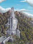 clouds highres lord_of_the_rings painting sky tower tree