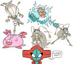 1girl blue_eyes chansey cracked_egg deoxys english frozen ice kicking landorus legendary_pokemon no_humans pheromosa pokemon pokemon_(creature) pokemon_(game) pokemon_sm purple_sclera shenanimation text ultra_beast