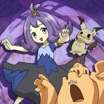 1girl ^_^ acerola_(pokemon) armlet closed_eyes dress flipped_hair grey_eyes highres looking_at_viewer mimikyu_(pokemon) open_mouth outstretched_arms palossand pokemon pokemon_(creature) pokemon_(game) purple_hair runachikku shovel stitches topknot trial_captain worktool