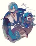 1girl baggy_pants barefoot barefoot_sandals blue_eyes blue_hair blue_pants capri_pants crop_top fishing_rod full_body hairband holding holding_fishing_rod looking_at_viewer one-piece_swimsuit pants pokemon pokemon_(creature) pokemon_(game) pokemon_sm popplio sailor_collar sandals short_hair smile suiren_(pokemon) suzukami swimsuit swimsuit_under_clothes trial_captain water