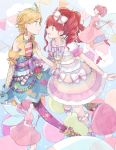 2girls aikatsu! balloon belt blonde_hair boots bow braid dress earrings fairy floating flying frilled_dress frilled_legwear frills gomi_chiri green_eyes hair_bow hair_ornament jewelry kneehighs kurebayashi_juri long_hair looking_at_another multiple_girls necklace open_mouth ponytail redhead shinjou_hinaki short_hair skirt sky smile thigh-highs violet_eyes yuri