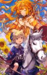 1boy 1girl :d ascot bangs belt blonde_hair braid bridle circlet closed_eyes cross-laced_clothes facial_mark fading flower hat highres horse horseback_riding jewelry lee_hyeseung long_hair long_sleeves necklace open_mouth original reins riding scepter shorts smile staff sunflower tarot the_sun white_horse
