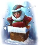 blush breasts chimney english hat highres inconvenient_breasts large_breasts mei_(overwatch) overwatch santa_costume santa_hat