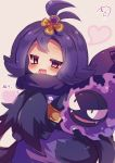 1girl acerola_(pokemon) blush elite_four gastly hair_ornament half_updo heart highres muuran open_mouth pokemon pokemon_(creature) pokemon_(game) pokemon_sm purple_hair purple_scarf scarf short_hair trial_captain violet_eyes