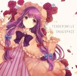 1girl blue_bow bow bowtie capelet closed_mouth coat collar commentary dress english flower frilled_capelet frilled_collar frilled_sleeves frills hair_bow hat kashiwagi_chisame long_hair long_sleeves lying on_back patchouli_knowledge pink_coat pink_hat purple_bow purple_bowtie purple_hair red_bow red_rose rose sidelocks solo striped touhou vertical-striped_dress vertical_stripes very_long_hair violet_eyes