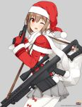 1girl ;d anti-materiel_rifle bangs barrett_m82 blush bow brown_eyes brown_hair capelet christmas copyright_name eyebrows_visible_through_hair from_side fur_trim gloves grey_background grey_skirt gun hair_between_eyes hair_ornament handgun hands_up hat logo long_sleeves looking_at_viewer military one_eye_closed open_mouth pantyhose pistol pleated_skirt pointing pointing_up red_bow red_gloves rick_g_earth rifle sack santa_costume santa_hat scarf short_hair shuuichi sig_sauer_p220 skirt sling smile sniper_rifle solo thighs trigger_discipline watermark weapon white_legwear white_scarf x_hair_ornament