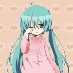 <3 1girl aqua_eyes aqua_hair hatsune_miku hearts long_hair lowres solo tagme vocaloid waking_up