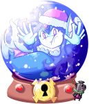 1boy 1girl character_request face_on_glass giga_mermaid hands_on_glass hat keyhole santa_hat setz shantae shantae_(series) snow_globe