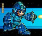 1boy arm_cannon blue_eyes blush_stickers firing gameplay_mechanics health_bar helmet robot robot_joints rockman rockman_(character) rockman_(classic) running solo weapon winterartwork