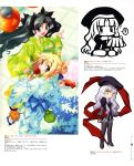 ahoge black_(artist) black_hair blonde_hair blue_eyes candy_apple caren_ortensia emiya_shirou fate/hollow_ataraxia fate/stay_night fate_(series) green_eyes highres japanese_clothes kimono lollipop pantyhose saber scan takeuchi_takashi thigh-highs thighhighs tohsaka_rin toosaka_rin type-moon yukata
