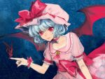 1girl arm_up ascot bat bat_wings blue_background blue_hair brooch collarbone dress faux_traditional_media fingernails gradient gradient_background hat hat_ribbon index_finger_raised jewelry light_smile looking_at_viewer mob_cap nail_polish puffy_short_sleeves puffy_sleeves red_eyes remilia_scarlet ribbon sash short_hair short_sleeves slit_pupils solo star touhou tsuneaki_(dosnan) wings
