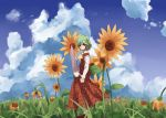 closed_umbrella cloud flower flower_field green_hair kazami_yuuka mieharu nature plaid plaid_skirt plaid_vest red_eyes short_hair skirt skirt_set sky solo sunflower touhou umbrella