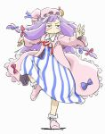 blush bored bow crescent dress fighting_stance hair_bow hat long_hair ohyo patchouli_knowledge purple_hair ribbon robe rough sketch solo standing_on_one_leg touhou