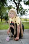 air blonde_hair blue_eyes bow cosplay hair_bow kamio_misuzu key long_hair photo school_uniform