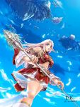 armor bird blue_eyes city cloud crystal d.k. elf feathers floating_city floating_island flying frills highres lineage lineage_2 long_hair midriff navel pink_hair pointy_ears ship staff