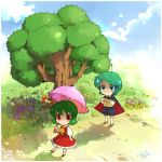 antennae ascot bad_id blue_eyes blush cape chibi dress flower green_hair kabuteriko kazami_yuuka kneehighs letter love_letter multiple_girls mushroom nature parasol plaid plaid_skirt plaid_vest red_eyes shade shadow short_hair skirt skirt_set smile sokomushi touhou tree trees umbrella wriggle_nightbug yuri
