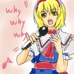 blonde_hair hairband iosys karaoke marisa_stole_the_precious_thing microphone parody short_hair solo touhou wabi_(wbsk) wabi_tsubaki
