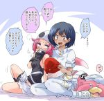 1koma 2girls aether_foundation_employee bandana_over_mouth black_hair blush brown_eyes cabbie_hat comic commentary_request covering_eyes dark_skin gloves hat multiple_girls pantyhose pink_hair pokemon pokemon_(creature) pokemon_(game) pokemon_sm santa_hat short_hair short_sleeves shorts sleeveless slowbro tank_top team_skull_grunt two-tone_background unya visible_air white_gloves white_legwear