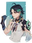 1boy ahoge arm_tattoo armor asymmetrical_clothes bead_necklace beads black_hair clenched_hand cropped_torso facial_mark forehead_mark genshin_impact green_hair highres jewelry k_young03 male_focus multicolored_hair necklace shoulder_armor simple_background sleeveless solo spikes tassel tattoo upper_body xiao_(genshin_impact) yellow_eyes