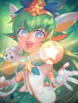1girl :d backlighting blue_bow blurry blush bow colored_eyelashes creature depth_of_field green_hair green_skirt hair_bow hair_ornament holding holding_staff league_of_legends leng light_particles looking_at_viewer lulu_(league_of_legends) magic magical_girl open_mouth palms pleated_skirt shirt short_sleeves skirt smile staff star star_guardian_lulu star_hair_ornament upper_body white_shirt yordle