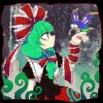 1girl @_@ arm_ribbon bow butterfly dress frilled_ribbon frills from_side front_ponytail furukawa_(yomawari) green_eyes green_hair hair_bow hair_ribbon hand_up insect_wings kagiyama_hina looking_at_another open_mouth red_dress red_ribbon ribbon smile touhou wings