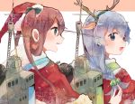 2girls antlers asagumo_(kantai_collection) bow braid brown_hair christmas fur_trim green_eyes grey_eyes hair_bow hair_ribbon itomugi-kun kantai_collection long_hair looking_at_another machinery multiple_girls open_mouth ribbon santa_costume sidelocks silver_hair single_braid smile twintails wavy_hair yamagumo_(kantai_collection)