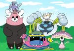 alola_form alolan_muk araquanid bear bewear bird black_eyes blob blue_sky claws closed_eyes clouds commentary_request crystal facing_viewer furukawa_(yomawari) grass highres looking_at_viewer muk mushroom no_humans on_head open_mouth oricorio pokemon pokemon_(creature) pokemon_(game) pokemon_sm sharp_teeth shiinotic sky smile spider teeth togedemaru water