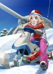 1girl abazu-red alternate_costume blonde_hair blue_eyes blurry boots coat commentary_request crossed_arms depth_of_field girls_und_panzer gloves ground_vehicle hat highres kay_(girls_und_panzer) long_hair looking_at_viewer military military_vehicle motor_vehicle open_mouth pants pink_pants red_coat red_hat riding sitting sky smile snow snowmobile solo tank vehicle_request white_gloves winter_clothes