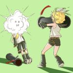 1boy 1girl 2016 arm_warmers arms_at_sides bazooka belt birthday black_shorts blonde_hair blouse bruise burnt_clothes carrying_over_shoulder commentary dirty_face explosive finger_on_trigger firing green_background headphones highres injury kagamine_len kagamine_rin leg_warmers legs_apart messy_hair necktie outstretched_arm over_shoulder paper pocket ribbon ribbon-trimmed_shorts ribbon_trim rindo8_(rindo7) sailor_collar shadow shoe_soles short_hair short_shorts shorts simple_background sleeveless smoke squiggle standing torn_clothes vocaloid weapon weapon_over_shoulder white_blouse white_ribbon yellow_necktie