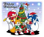 3boys absurdres box chao_(sonic) christmas christmas_ornaments christmas_tree gift gift_box gloves hat highres knuckles_the_echidna miles_prower multiple_boys no_humans official_art sack santa_costume santa_hat shoes sneakers sonic sonic_the_hedgehog white_gloves