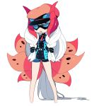 1girl absurdly_long_hair bike_shorts black_gloves black_hat blue_eyes chibi domino_mask elbow_gloves full_body gloves hat insect_wings kz_609 long_hair mask moth_wings necktie open_mouth personification pokemon pokemon_(game) pokemon_bw red_necktie shorts simple_background sketch solo standing very_long_hair volcarona white_background white_hair wings
