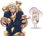 1boy 1girl :o angry bag bangs blonde_hair blunt_bangs blurry braid clenched_teeth closed_eyes collared_dress d: depth_of_field donald_trump dress duffel_bag formal gradient green_eyes hat head_tilt holding holding_strap lillie_(pokemon) long_hair look-alike open_mouth poke_ball_theme pokemon pokemon_(creature) pokemon_(game) pokemon_sm real_life shaded_face sharp_teeth short_hair simple_background sleeveless sleeveless_dress suit sukemyon sun_hat sundress surprised sweat teeth twin_braids white_dress yungoos