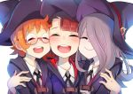3girls :d akko_kagari black_ribbon blue_hat blue_robe blush brown_hair closed_eyes collared_shirt commentary_request glasses group_hug hat hat_ornament hat_ribbon hug little_witch_academia lotte_yanson multiple_girls neck_ribbon onigensou open_mouth orange_hair purple_hair red-framed_eyewear red_ribbon ribbon round_glasses round_teeth semi-rimless_glasses shirt simple_background smile sucy_manbabalan teeth upper_body white_background white_shirt witch_hat
